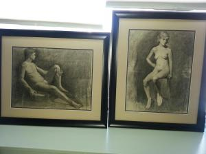 Two nudes - well, the female model is nude. The male model wore a cod piece. Coward.