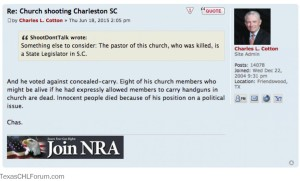 NRA Board Member's comments about Charleston. SMDH.